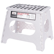 Acko White 28cm Non Slip Folding Step Stool for Kids and Adults with Handle, Holds up to 110kg