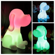 NIUDB Cute Cordless Dog Shape Colour Changing LED Lamp Decoration Mood Night Light for Children
