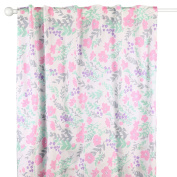 Pink and Mint Floral Blackout Window Drapery Panels - Two 210cm by 110cm Panels