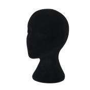 Hatop Female Styrofoam Foam Flocking Head Model Wig Glasses Display Stand Black