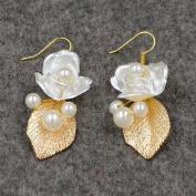 Handmade Baroque Pearls, Flowers Gold Leaves Earrings Jewellery For Wedding/Sweet Sixteen/Quinceanera