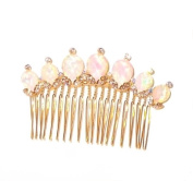 Abalone and Crystal Gold Tone Hair Comb