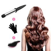 Duvolle Pro Series Titanium Curling Wand (32mm), Comes with Heat Resistant Glove and Detangling Brush