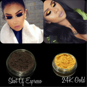 """New Eyeshadow Pigment Myo Shimmer Set """"Espresso"""" & """"24K Gold"""" Mica Cosmetic Mineral Makeup 3 Gramme Small Size"""