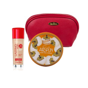 Two Piece Rimmel Kit with Rimmel Long Lasting Coverage Foundation (Classic Ivory, 30ml), Coty Airspun Loose Powder (Suntan, 70ml) with Deep Red Draizee Leather Cosmetic Bag