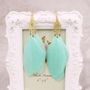 A & C Fashion Bohemia Blue Feather Dangle Earrings Jewellery for Women, Hot Sell Indian Feather Eardrop for Girls.