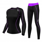FDX Women's Compression Armour Base layer Top Skin Fit Shirt + Leggings set