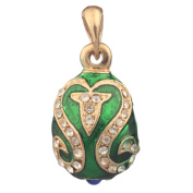 Russian Faberge Style Egg Pendant / Charm with crystals 2.5cm green #5801-08