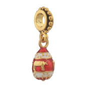 Russian Faberge Style Egg Pendant / Charm 2.5cm red #1555-05