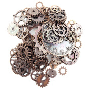 Fireboomoon 100 Gramme (Approx 80pcs) Assorted Antique Steampunk Gears Charms Pendant Clock Watch Wheel Gear for Crafting, Jewellery Making Accessory