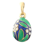 Russian Faberge Style Egg Pendant / Charm with crystals 2.2cm #6201