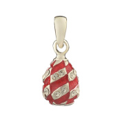 Russian Faberge Style Egg Pendant / Charm with crystals 1.6cm red #1551-05-09