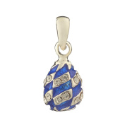 Russian Faberge Style Egg Pendant / Charm with crystals 1.6cm blue #1551-11-09