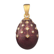 Russian Faberge Style Egg Pendant / Charm with crystals 2.2cm purple #1504-12