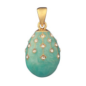 Russian Faberge Style Egg Pendant / Charm with crystals 2.2cm light blue #1504-10