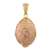 Russian Faberge Style Egg Pendant / Charm with crystals 1.9cm pink #1502-04