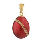 Russian Faberge Style Egg Pendant / Charm with crystals 2cm red #1503-05