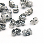 Pandahall 100 Pcs 6x4.5x3.5mm Earrings Findings Original Colour Stainless Steel Earnuts, Hole