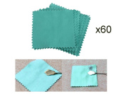60 PCS LOT Pack Jewellery Cleaning Cloth Polishing Cloth for Sterling Silver Gold Platinum 8cm BY 8cm SIZE