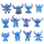 Kissen 12pcs Cute Blue Lilo Stitch Resin Cartoon Figure Anime Mini 2-3cm Toys