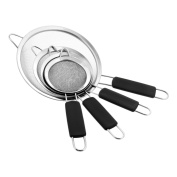 U.S. Kitchen Supply - Set of 4 Premium Quality Fine Mesh Stainless Steel Strainers with Comfortable Non Slip Handles - 10cm , 11cm , 14cm and 20cm Sizes - Sift, Strain, Drain and Rinse Vegetables