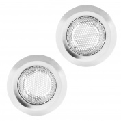 U.S. Kitchen Supply - 2 Pack of Stainless Steel Micro Perforated Kitchen Sink Strainers - 11cm Diameter, 7cm Bowl - Drain Water, Catch Waste, Prevent Clogs in Garbage Disposal