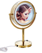 Cavoli 22cm LED Makeup Mirror with 10x Magnification,Tabletop Two-sided ,Gold Finish