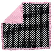 Dear Baby Gear Baby Blankets, Polka Dots White on Black, Pink Minky