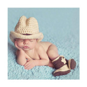 Lovely Newborn Infant Cowboy Hat Boots Crochet Knitted Costume Baby Photography Props