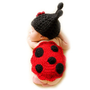 Newborn Infant Handmade Ladybug Photo Prop Outfit Clothes Knit Crochet Baby Photography Props