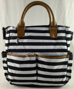 . Tote Nappy Bag - Black/White Stripe with Changing Pad - Tan Trim with Shoulder Strap