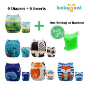 Babygoal Baby Adjustable Reuseable Positioning Pocket Cloth Nappy Nappy 6pcs+ 6 Inserts 6YDB07