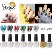 Ukiyo 6 Rainbow Nail Polish +Base & Top Coat UV Nail Salon Beauty Art Set J