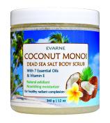 Evarne Coconut Monoi Body Scrub with Dead Sea Salt 7 Essential Oils and Vitamin E