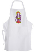 Traditional Calavera Adult Size Apron Day of the Dead Mexico Skull Flowers Death
