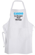 Cardio is cheaper than therapy – Adult Size Apron Fitness Work Out Gym Healthy