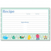 Cookbook People Recipe Cards 4x6 Kids Kitchen Blue Polka Dot 40ea Wedding, Bridal and More