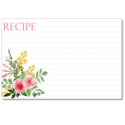 Cookbook People Recipe Cards 4x6 Two Pink Watercolour Roses 40ea Wedding, Bridal and More