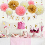 Since 11 Pcs Tissue Paper Pom Poms Dot Paper Garland with Happy Birthday Bunting Banner for Party Decoration