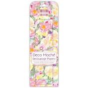 Watercolour Flowers Deco Mache x 3 Paper Sheets Tissue Patch Craft Trimcraft