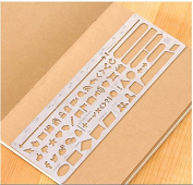 AOBOR Web UI Template, Drawing Planner Stainless Steel Stencil Size 18cm ×6.2cm