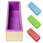 Topbeu Rectangle Silicone Bread Soap Mould with Wooden Box to Keep Good Shape