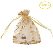 SumDirect 100Pcs 8.5cm x 12cm Sheer Drawstring Heart Organza Jewellery Pouches Wedding Party Christmas Favour Gift Bags