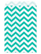 100 Pc 22cm X 28cm Teal Chevron Paper Bags by My Craft Supplies
