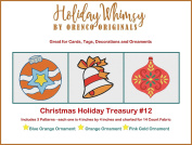 3 Christmas Holiday Counted Cross Stitch Patterns Treasury # 12 Ornaments Bell