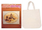 Vintage Sunset Stitchery 100% Wool Crewel Kit & Canvas Tote Bag Gift Budle
