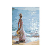 Rihe Girl DIY Oil Painting Paint By Number Kit-Facing the Sea 41cm x 50cm