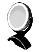 Rucci Soft Touch Lighted Vanity Mirror 10x/1x, Black