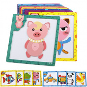 Stebcece Magnetic DIY Wooden Brick Puzzle Toy Baby Toddler Intelligence Development Toys