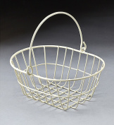 White wire metal oval basket with drop handle